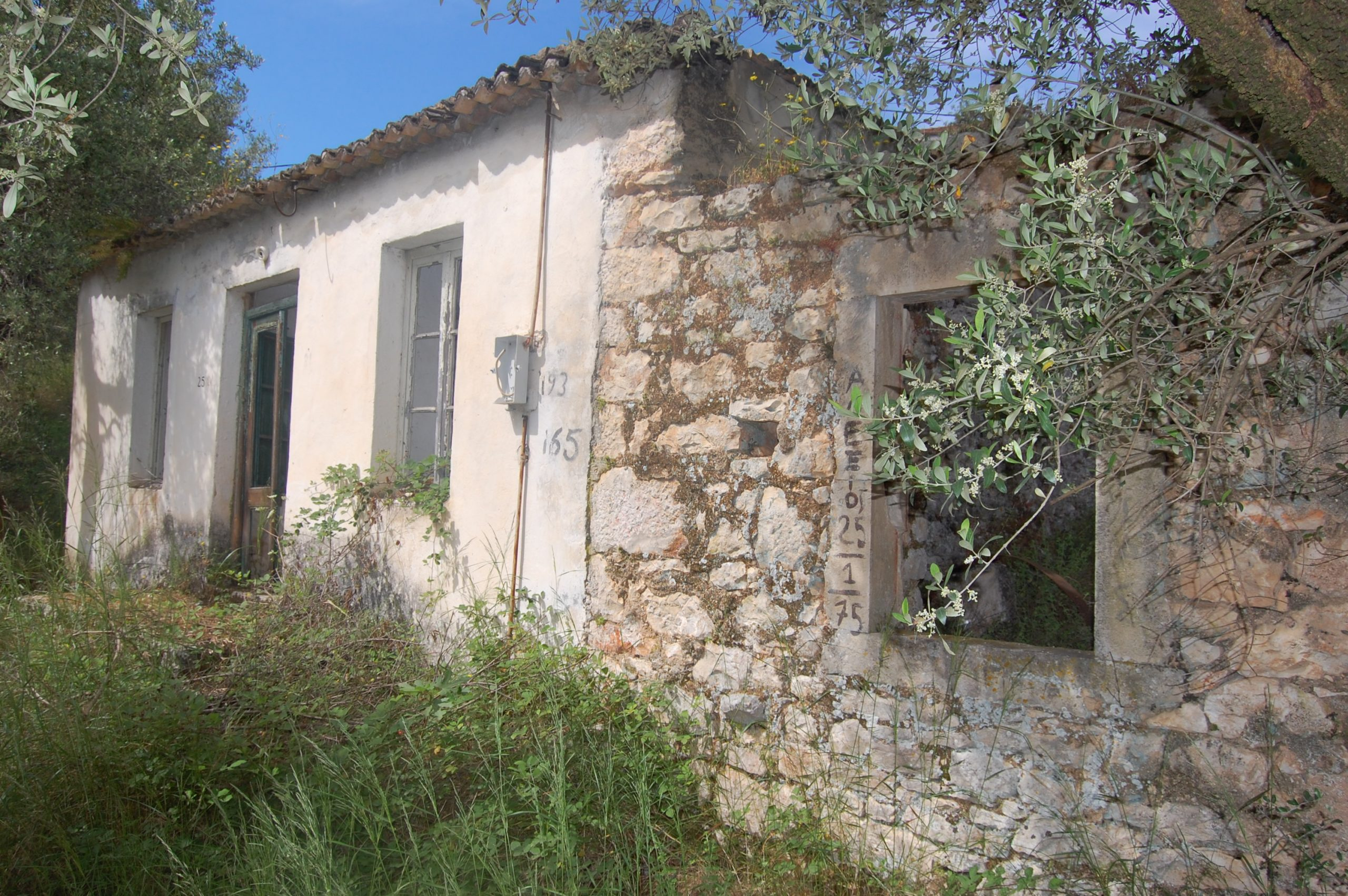 Exterior view of land with house for sale Ithaca Greece