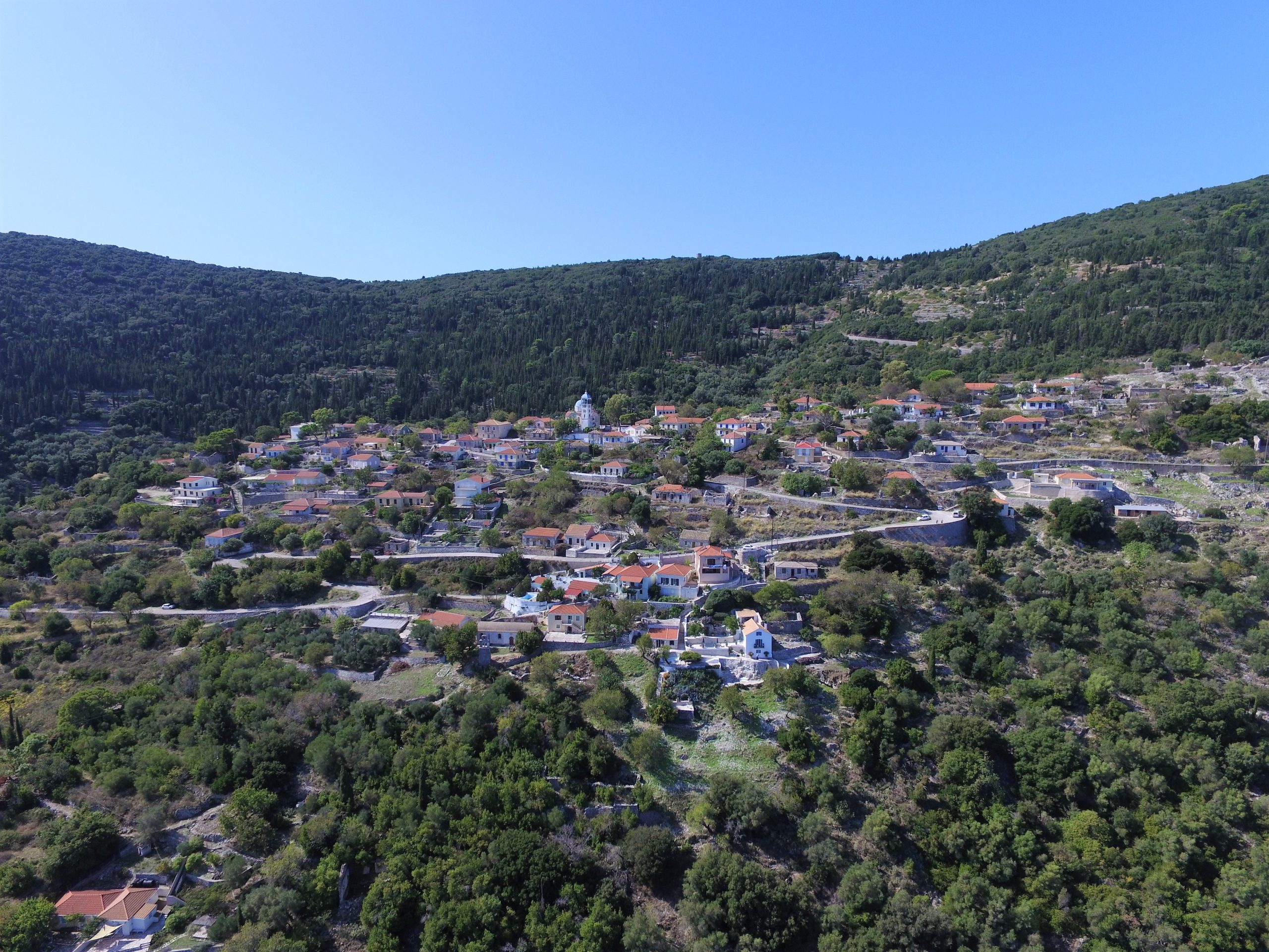 Aerial view of property for sale in Ithaca Greece Exoghi