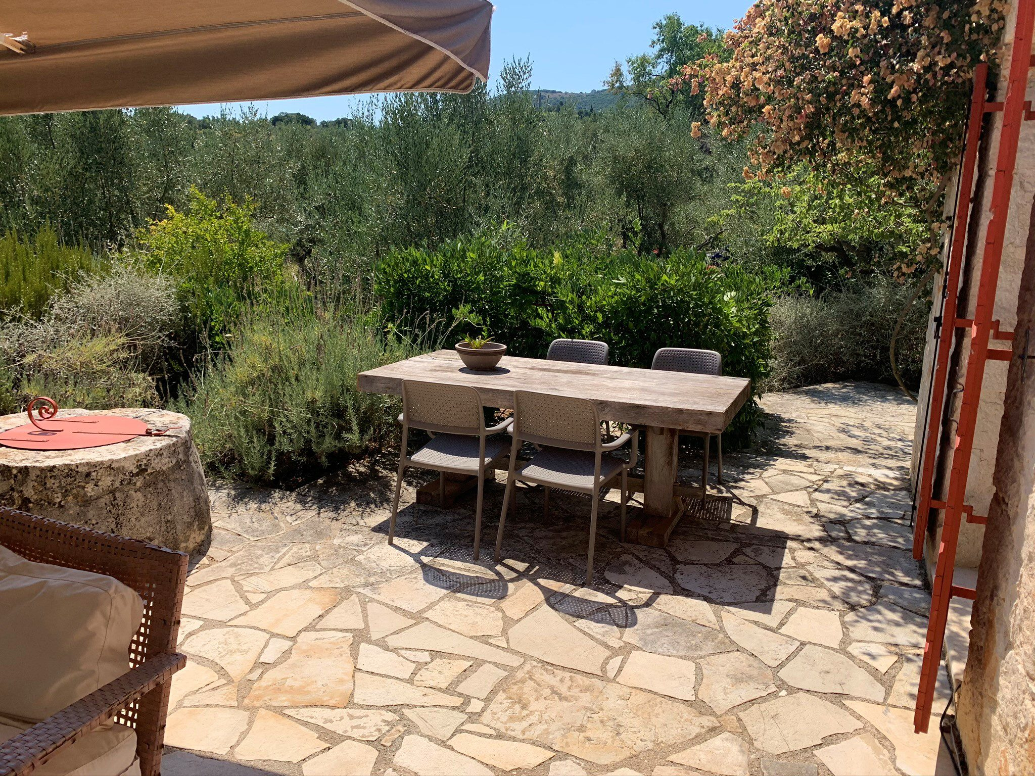 Outside terrace area of house for sale in Ithaca Greece Vathi