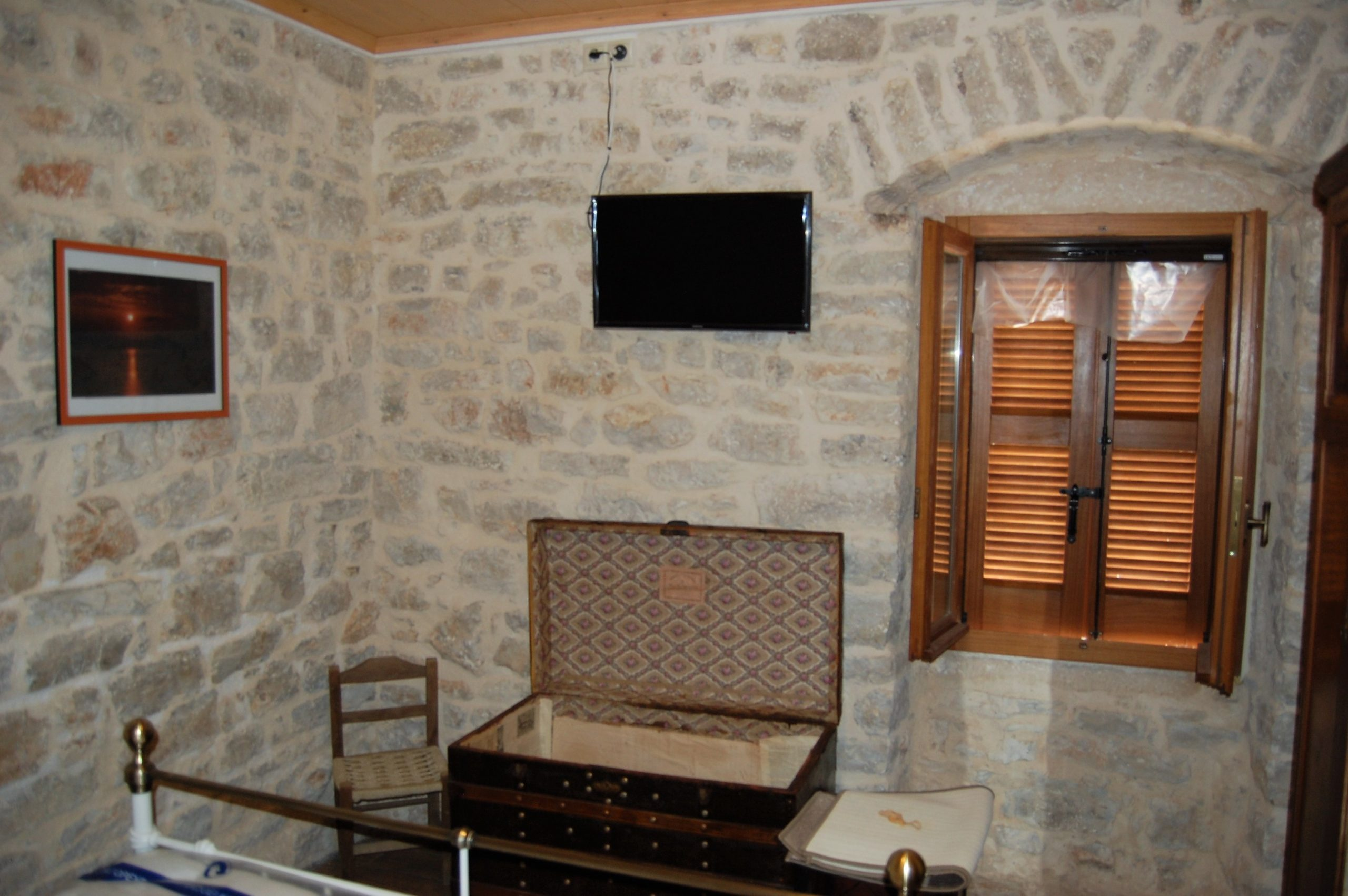Stone interior of rental property in Kioni Ithaca Greece