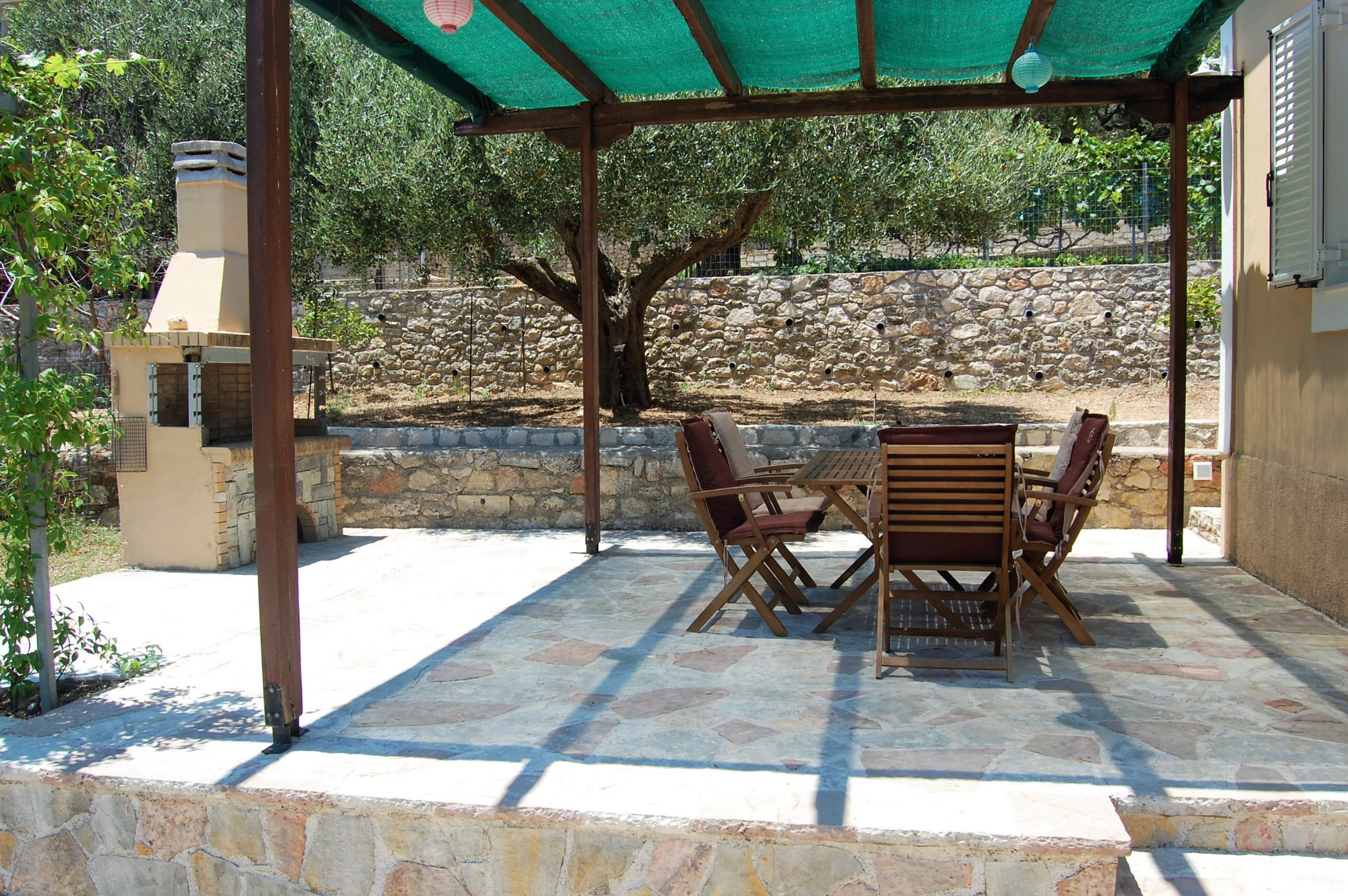 Stone terrace of rental property in Perachori Ithaca Greece